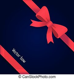 Vector Bow. Shiny Wide Red Ribbons. Two Petals