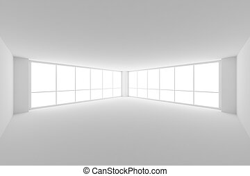 Empty white business office room with two large windows,...