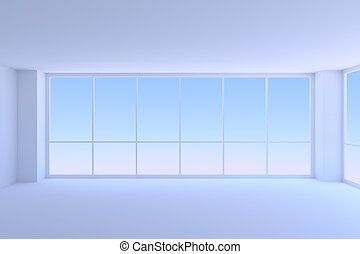 Empty blue business office room with two large windows closeup