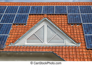 close up on Solar panel on a red roof