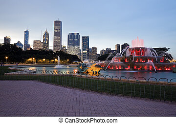 Buckingham Fountain in Chicago - Buckingham Fountain in...