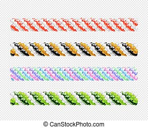 Garlands of balloons. Set of balloons line. Vector objects on transparent background