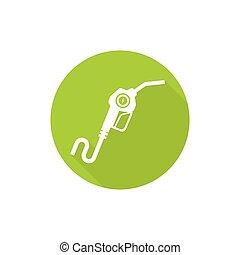 Gasoline pump nozzle sign. Gas station icon. Electro refill...