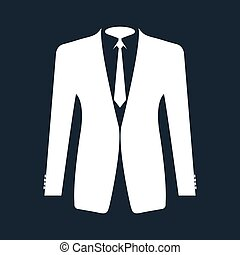 Suit icon isolated on black background.