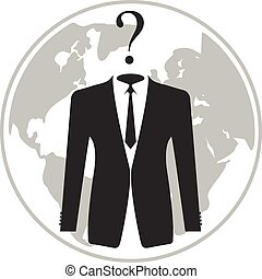 Businessman with Question Mark Head. Vector illustration