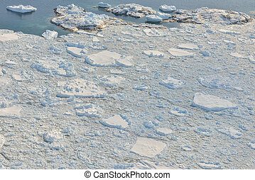 melting ice over the Greenland