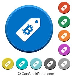 Bitcoin price label beveled buttons - Bitcoin price label...