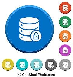 Unlock database beveled buttons - Unlock database round...