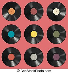 Vinyl records pattern - Vinyl records with colorful labels...