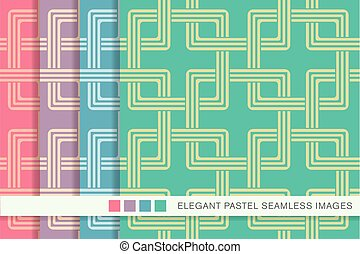 Seamless pastel background set square chain geometry