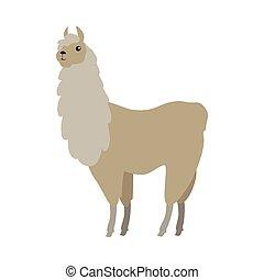 Lama Vector Illustration in Flat Design - Lama flat style...