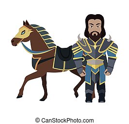 Cartoon Knight Warrior with Horse. Game Character - Cartoon...
