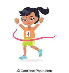 Running Girl with Black Hair Crosses Finish Line - Running...