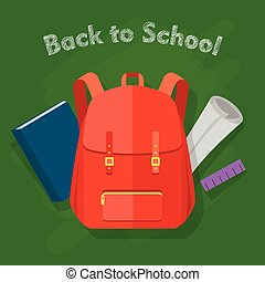 Back to School. Red Backpack. Office Supplies - Back to...