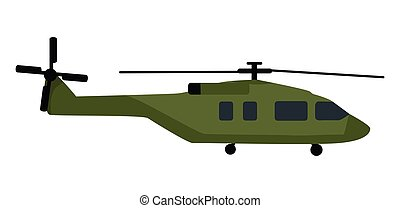 Military Helicopter Flat Style Vector Icon - Military...