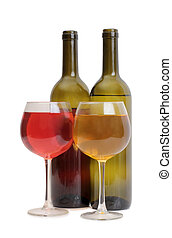 Wine glass on white eight - Glass and bottle wine on wooden...
