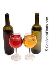 Wine glass on white five - Glass and bottle wine on wooden...