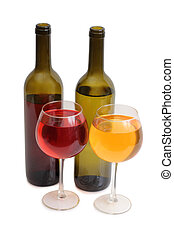 Wine glass on white four - Glass and bottle wine on wooden...