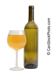 Wine glass on white nine - Glass and bottle wine on wooden...