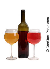 Wine glass on white one - Glass and bottle wine on wooden...