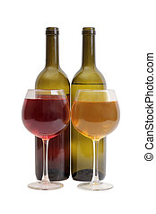 Wine glass on white seven - Glass and bottle wine on wooden...