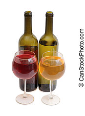 Wine glass on white six - Glass and bottle wine on wooden...