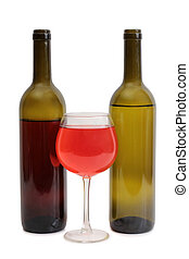 Wine glass on white three - Glass and bottle wine on wooden...