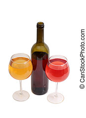 Wine glass on white two - Glass and bottle wine on wooden...