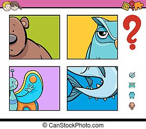 guess animals activity game - Cartoon Illustration of...