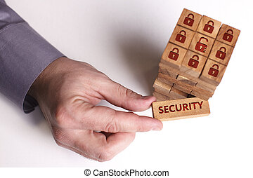rete, tecnologia, concetto, giovane, affari,  internet, uomo affari, sicurezza, mostra,  word: