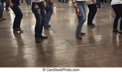 Country line dance with american flag and cowboy