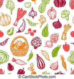 Vegetables, Pattern. - Hand drawn pattern with vegetables....