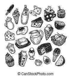 Dairy Products, Set. - Hand drawn set of vector dairy...