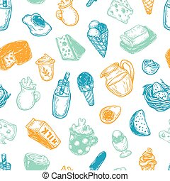 Dairy Products, Pattern. - Hand drawn pattern with vector...