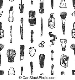 Cosmetics and make-up, pattern. - Beauty products and tools....