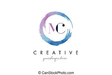 MC Letter Logo Circular Purple Splash Brush Concept. - MC...