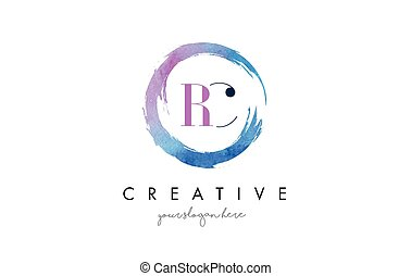 RC Letter Logo Circular Purple Splash Brush Concept. - RC...