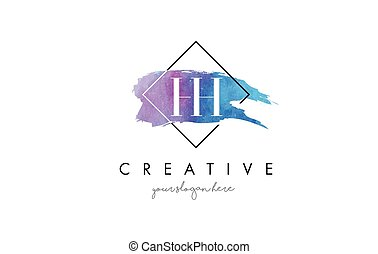 HH Letter Logo Circular Purple Splash Brush Concept. - HH...