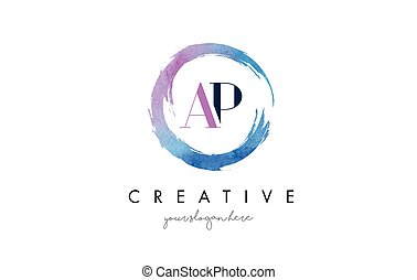 AP Letter Logo Circular Purple Splash Brush Concept. - AP...