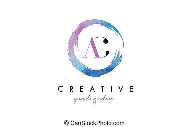 AG Letter Logo Circular Purple Splash Brush Concept. - AG...