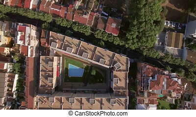 Aerial view of roofs of buildings, Barcelona, Spain