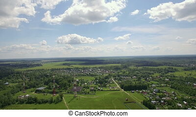Aerial skyline landscape with village in Russia - Aerial...