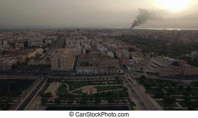 Aerial flight above Valencia, Spain - Aerial flight above...