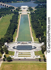 Lincoln memorial in Washington DC - Beautiful aerial view of...