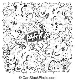 Vector doodle cartoon set of Africa designs - Line art...
