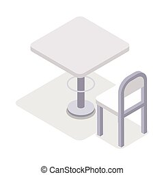 Dinner Table Chair Isolated, Isometric Furniture, - Chair...