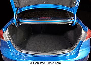 open clean modern car trunk - open clean modern blue car...