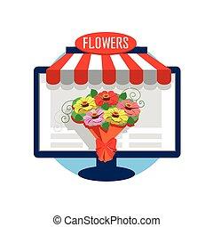 Flower shop online icon