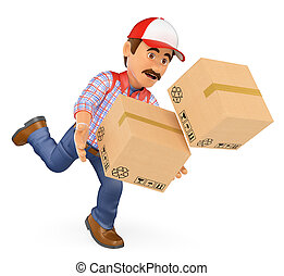 3D Delivery man falling with boxes. Work accident