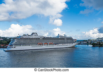 Luxury Cruise Ship Docked in St Lucia - A huge luxury cruise...